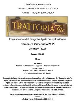 Immagine Cena di beneficenza 25 Gennaio 2015 alle ore 19,30/20,00